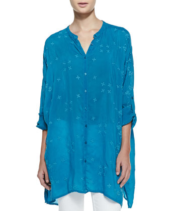 Oversized Boyfriend Embroidered Silk Tunic, Women's