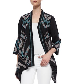 JWLA for Johnny Was Aya Linen Draped Cardigan, Women's