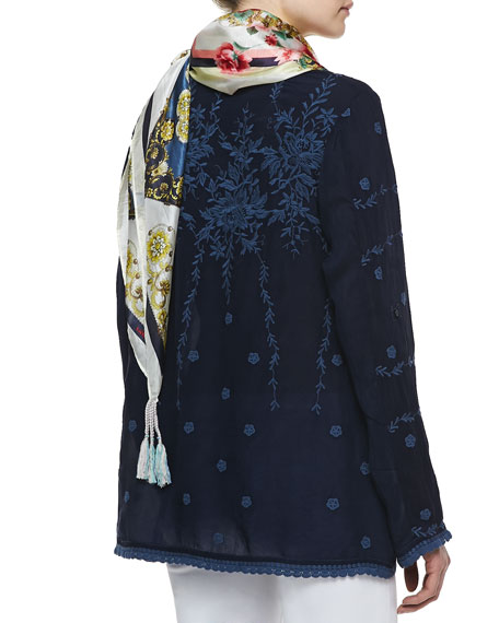 Vine Embroidered Georgette Tunic, Women's