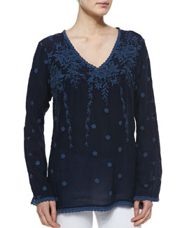 Johnny Was Collection Vine Embroidered Georgette Tunic, Women's