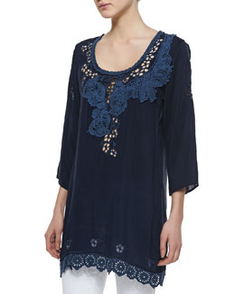Johnny Was Collection Vine Embroidered Georgette Tunic