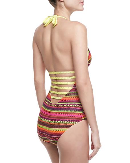 Sui Striped Trikini One-Piece Swimsuit