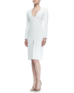 Wes Gordon Double-Faced Tailored Slit Dress
