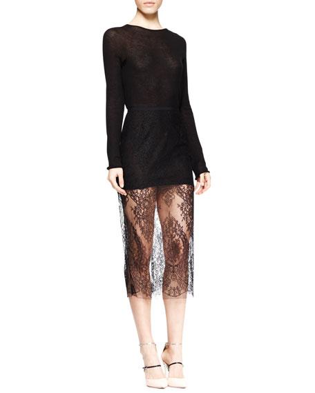 Sheer Lace Midi Pencil Skirt