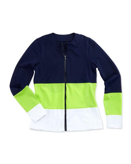 UPF 50 Classic Colorblock Zip Swim Shirt