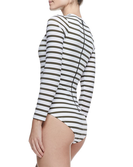 UPF 50 Active Striped 3/4-Sleeve One-Piece Swimsuit