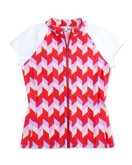 UPF 50 Active Geo-Print Zip Swim Shirt