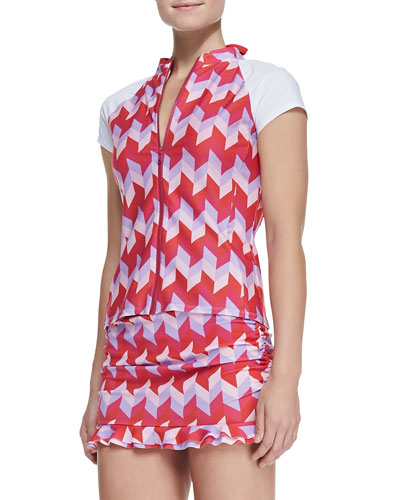 Parasol UPF 50 Active Geo-Print Zip Swim Shirt