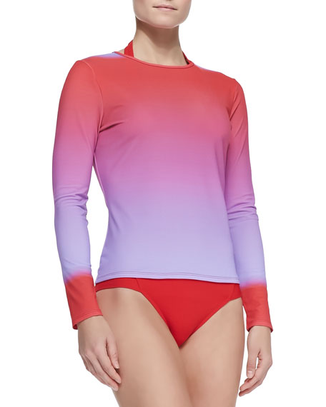 UPF 50 Active Ombre Printed Long-Sleeve Swim Shirt