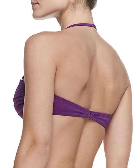 UPF 50 Boho Twisted Bandeau Bikini Top, Purple