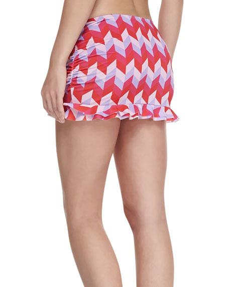 UPF 50 Geo-Print Ruffle Mini Skirt
