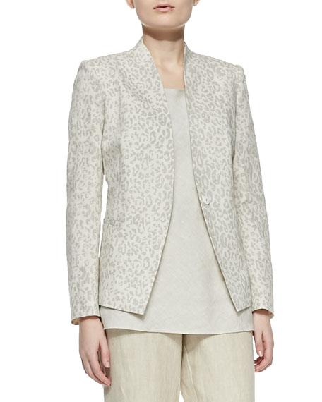 Animal-Print Linen-Cotton Jacket