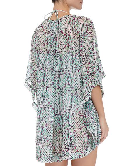 Occitan Ikat Shirred Silk Caftan