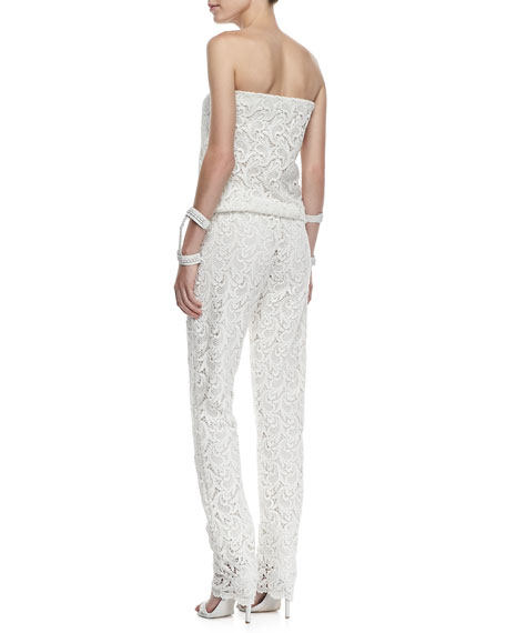 Lazar Strapless Crochet Lace Jumpsuit, White