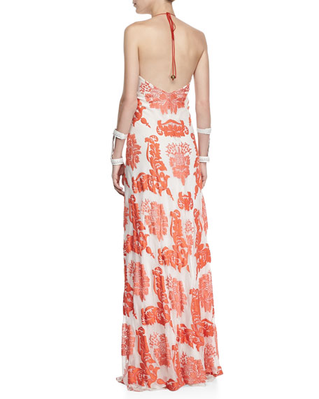 Isla Embroidered Silk Chiffon Maxi Dress