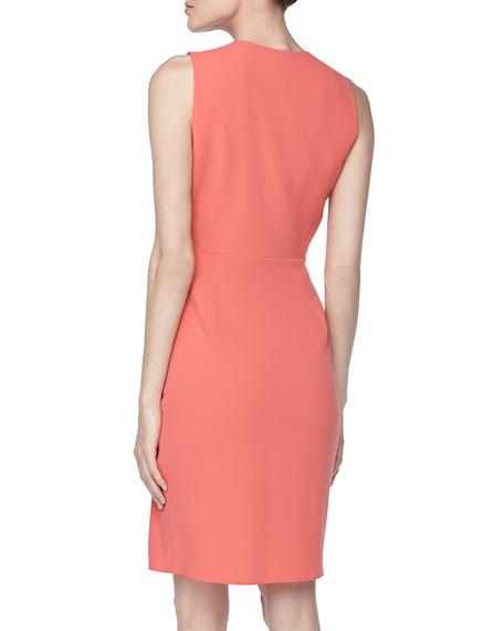 Sleeveless Draped-Front Dress, Coral