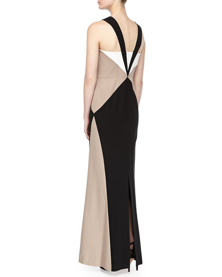 Tricolor Sleeveless Cocktail Gown