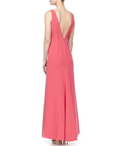 V-Back Raised-Dart Gown