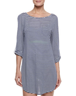 Splendid Malibu Striped Bracelet-Sleeve Coverup Tunic