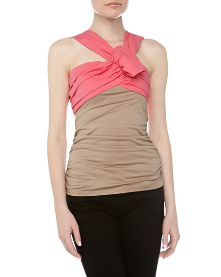 Asymmetric Bow Jersey Top, Rose