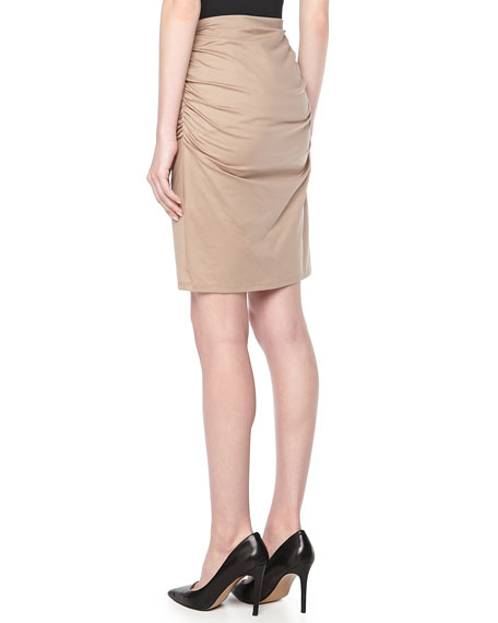 Jersey Ruched Pencil Skirt, Beige