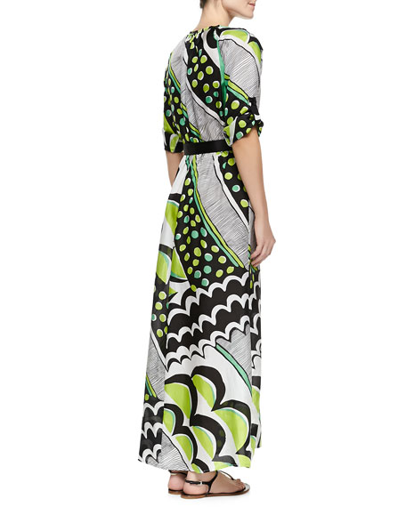 Printed Charmeuse Maxi Dress, Women's