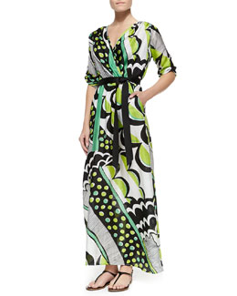 Melissa Masse Printed Charmeuse Maxi Dress