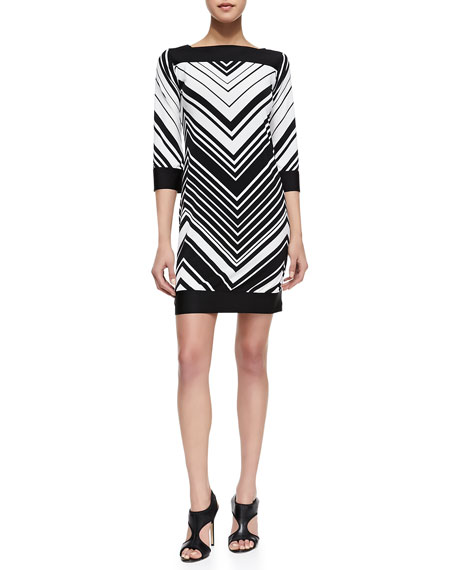 Chevron Striped Jersey Dress