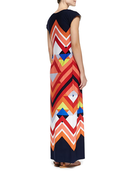 Printed Cap-Sleeve Maxi Dress, Women's