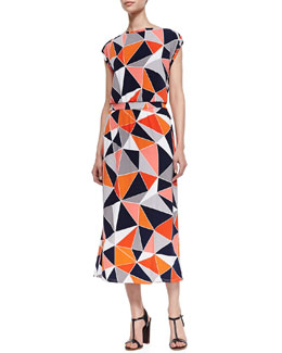 Melissa Masse Cap-Sleeve Lux Jersey Dress