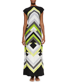 Melissa Masse Printed Luxury-Jersey Maxi Dress, Women's