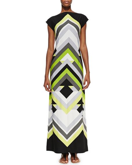 Printed Luxury-Jersey Maxi Dress, Women's