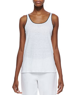 Eileen Fisher Tipped Long Tank, White/Graphite