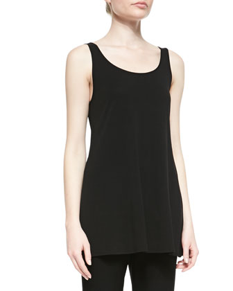 Long Silk Jersey Tunic Tank, Black