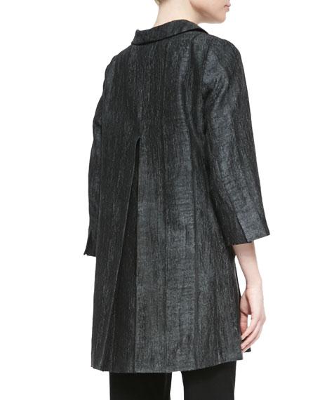 Long Hologram Silk Coat, Petite