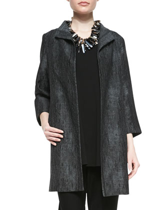 Long Hologram Silk Coat, Petite