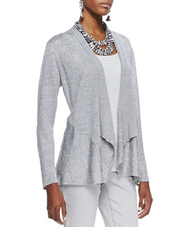 Eileen Fisher Polished Jersey Cardigan, Dark Pearl, Petite