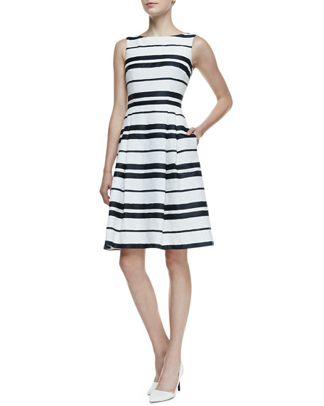 Sleeveless Striped Pleated-Skirt Dress