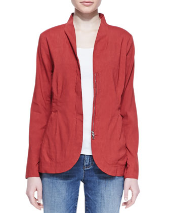 Linen/Viscose Stretch Shawl-Collar Peplum Jacket