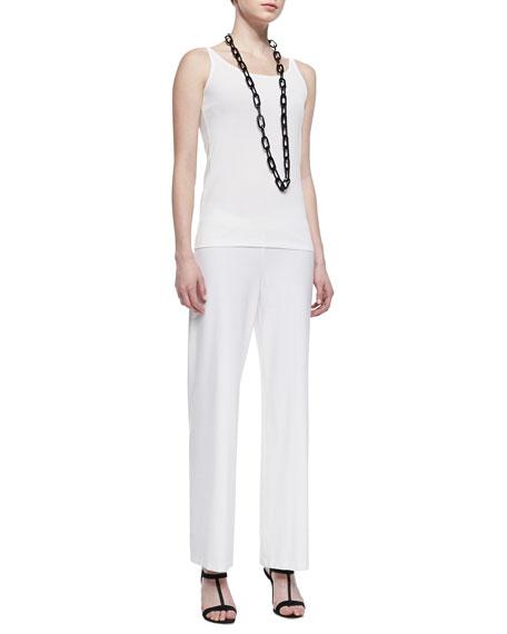Stretch Crepe Modern Wide-Leg Pants, White, Women's