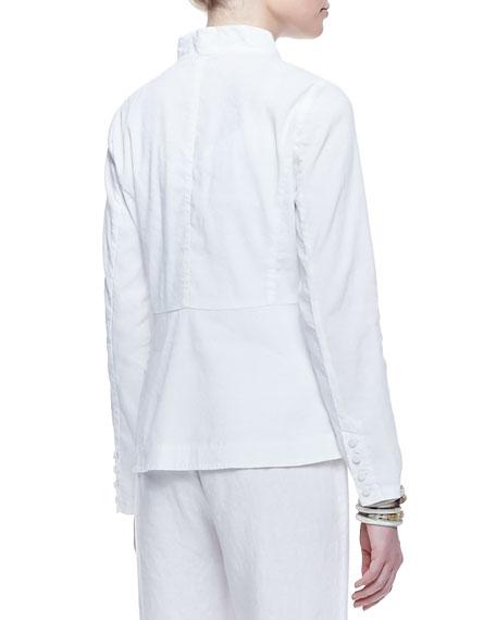 Linen-Blend Shawl-Collar Peplum Jacket, Women's