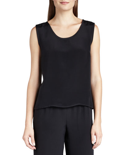 Caroline Rose Silk Crepe Tank, Black