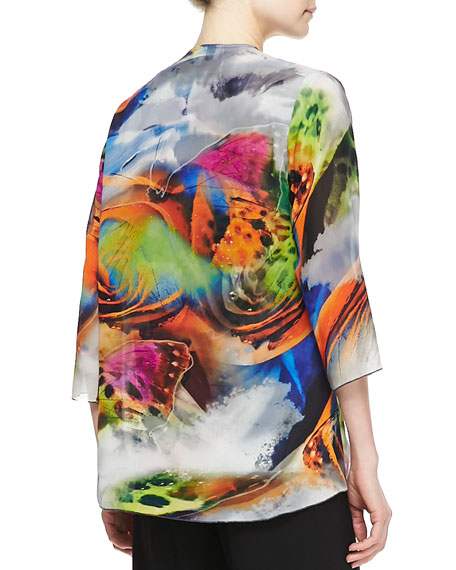 Butterfly-Printed Draped Jacket, Women's