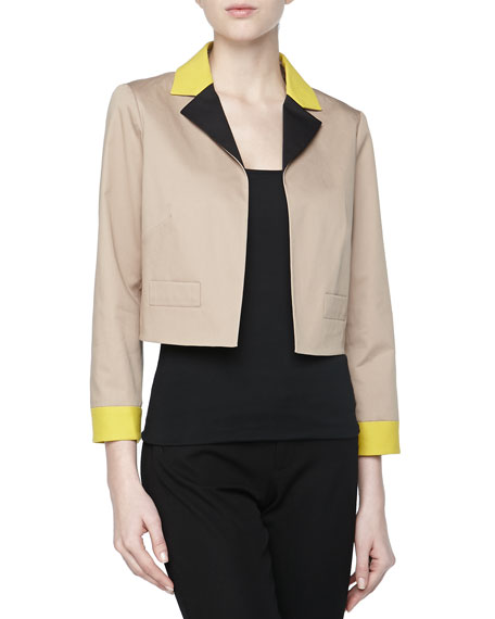 Colorblock Gabardine Cropped Jacket