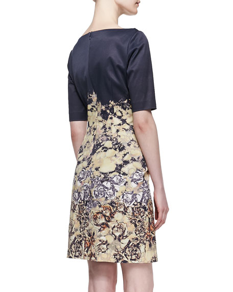 Cap Sleeve Printed Sheath Dress, Multicolor