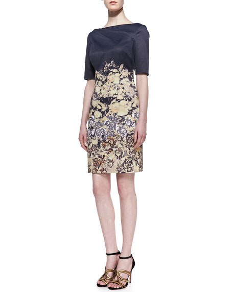 Cap Sleeve Printed Sheath Dress, Multicolor