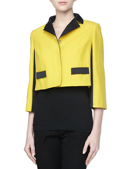 Colorblock Short Jacket, Tournesol