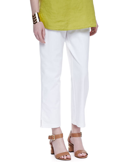 Organic Stretch Twill Slim Ankle Pants, White, Women's