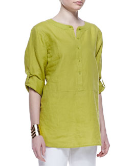 Eileen Fisher Handkerchief Linen Tunic, Lime, Women's