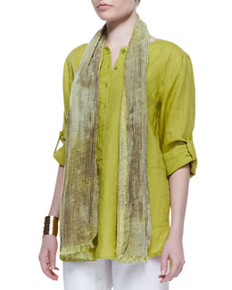Eileen Fisher Oxidized Jacquard Scarf, Lime